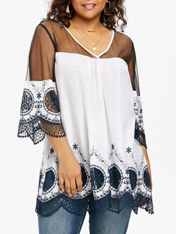 Shop Plus Size V Neck Bell Sleeve Blouse