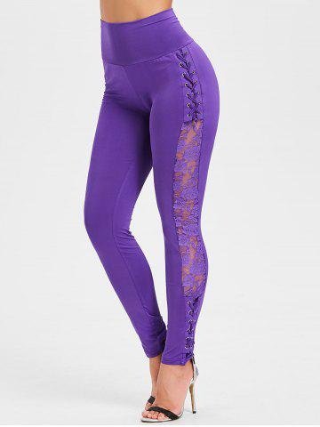 Sale Criss Cross Sheer Lace Panel Skinny Pants