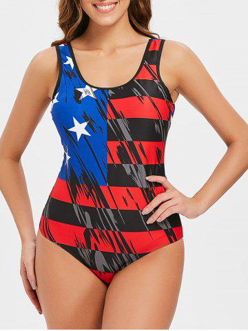 One-piece American Flag Bathing Suit - MULTI - S