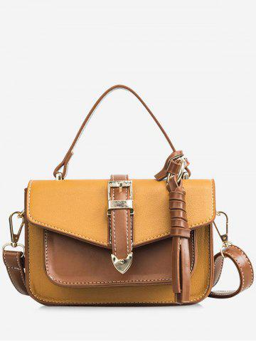 Affordable Contrasting Color Minimalist Flapped Buckled Crossbody Bag