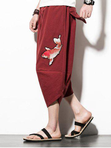Fancy Fish Embroidery Drawstring Waist Hip Hop Pants