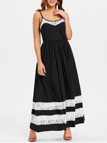 Cheap Color Block Lace Floor Length Dress