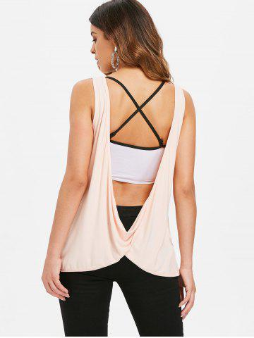 Lace Trim Letter Back Cowl Top