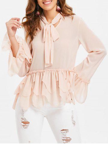 Online Flared Sleeve Flounce Blouse
