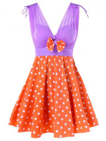 Discount One Piece Polka Dot Skirted Swimwear