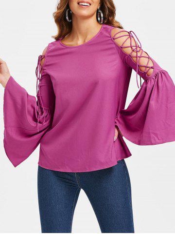 Discount Flare Sleeve Lace Up Tee