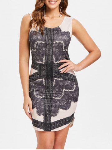 Cheap Printed Scoop Neck Bodycon Dress