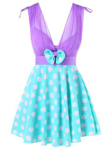One-piece Polka Dot Skirted Swimwear