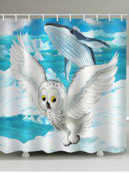 Flying Owl and Jumping Whale Print Bath Decor Shower Curtain -