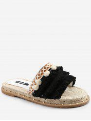Studded Stitches Espadrille Pompom Fringes Slides -