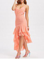 Deep V Neck Asymmetric Ruffle Midi Dress -