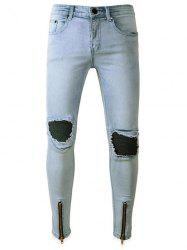 Zip Hem PU Leather Panel Ripped Biker Jeans -