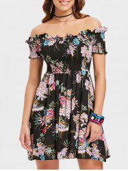 Full Print Off Shoulder Ruched Dress -