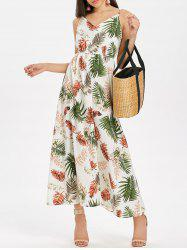 Leaf Print Flowy Maxi Dress -