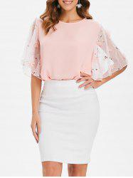 Flower Lace Sleeve Blouse -