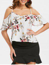 Open Shoulder Floral Blouse -