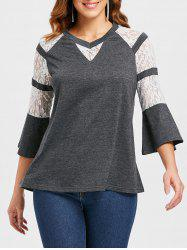 Floral Lace Panel Flare Sleeve T-shirt -