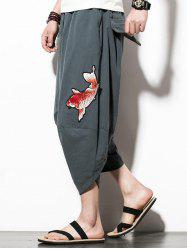 Fish Embroidery Drawstring Waist Hip Hop Pants -