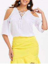 Cut Out Shoulder Lace Up Blouse -