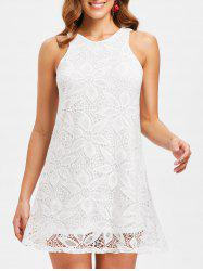 Sleeveless Hollow Out Overlay Dress -