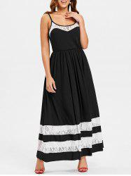 Color Block Lace Floor Length Dress -