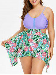 Plus Size Pineapple Handkerchief Tankini Set -