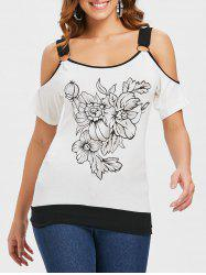 Floral Print Cold Shoulder T-shirt -
