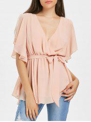 Slit Sleeve Surplice Blouse -