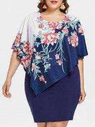 Plus Size Floral Asymmetric Overlay Dress -