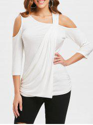 Cold Shoulder Ruched Side T-shirt -