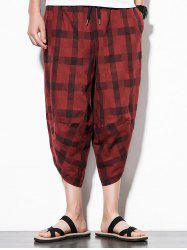 Hip-hop Elastic Waist Check Pattern Nine Minutes of Pants -