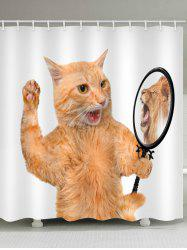 Funny Cat Seeing Lion In Mirror Print Bath Shower Curtain