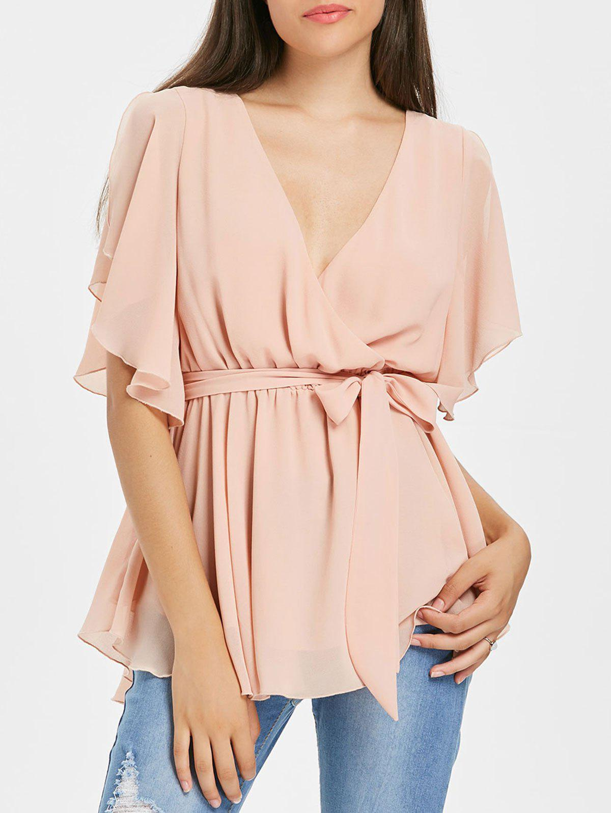Chic Slit Sleeve Surplice Blouse