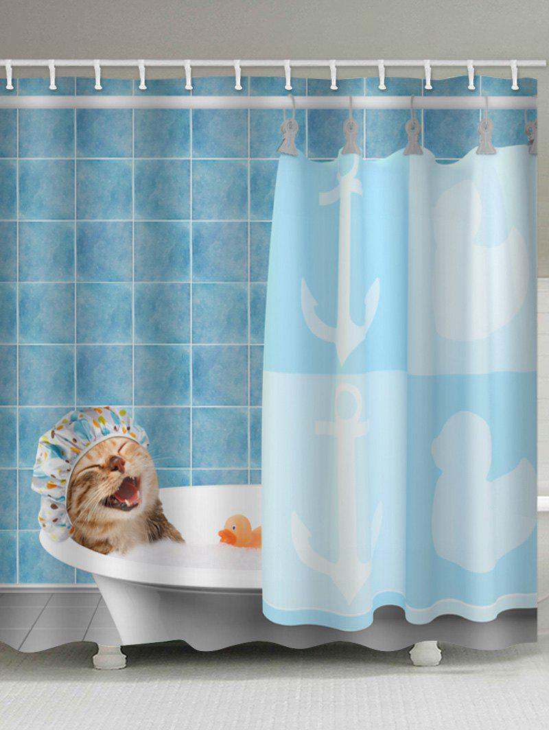 Sale Funny Kitten Bathing Print Bathroom Decor Shower Curtain