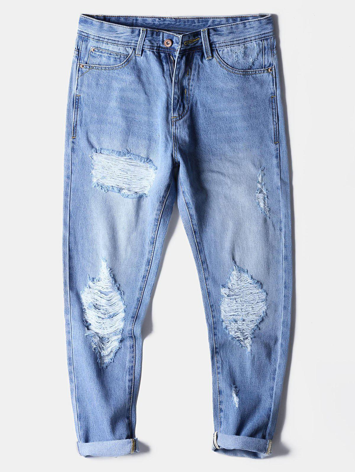 Buy Faded Wash Destroyed Zip Fly Jeans