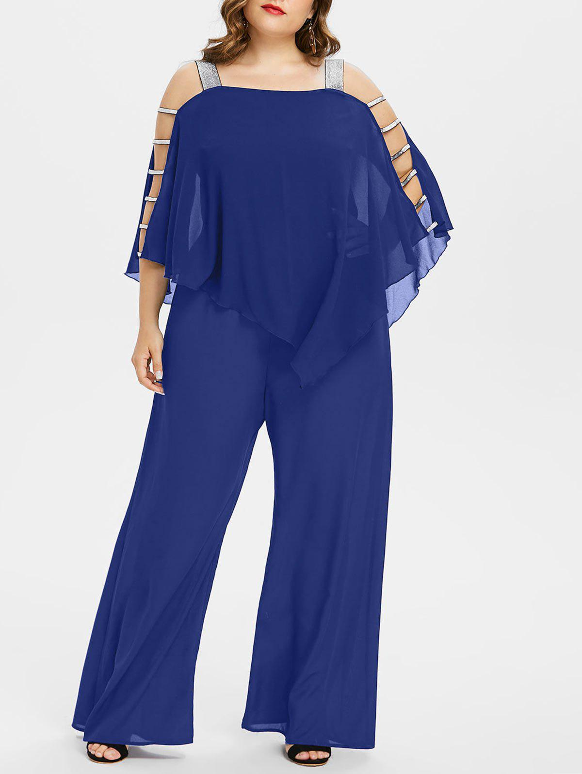 Unique Ladder Cut Out Plus Size Asymmetrical Jumpsuit