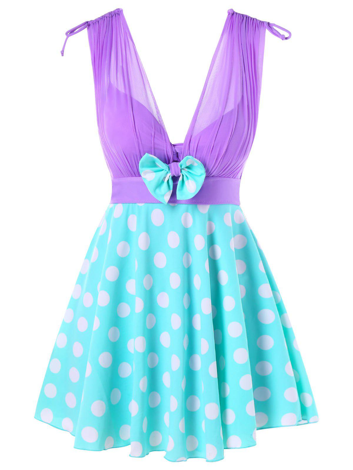 Sale One Piece Polka Dot Skirted Swimwear