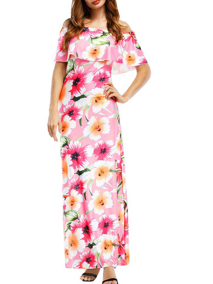 Hot Floral Print Off The Shoulder Ankle Length Dress