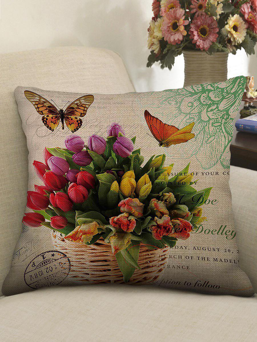 Shop Butterfly and Flowers Print Decorative Linen Sofa Pillowcase