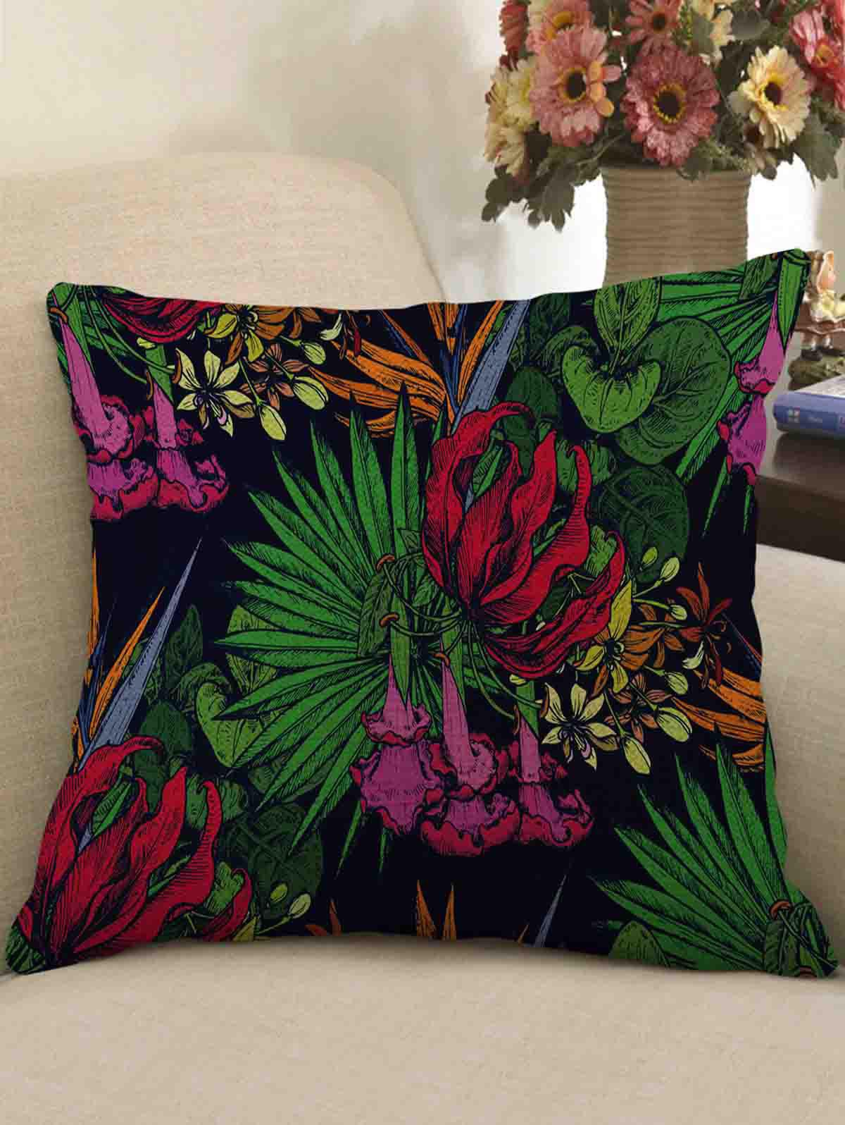 Sale Tropical Print Decorative Linen Sofa Pillowcase