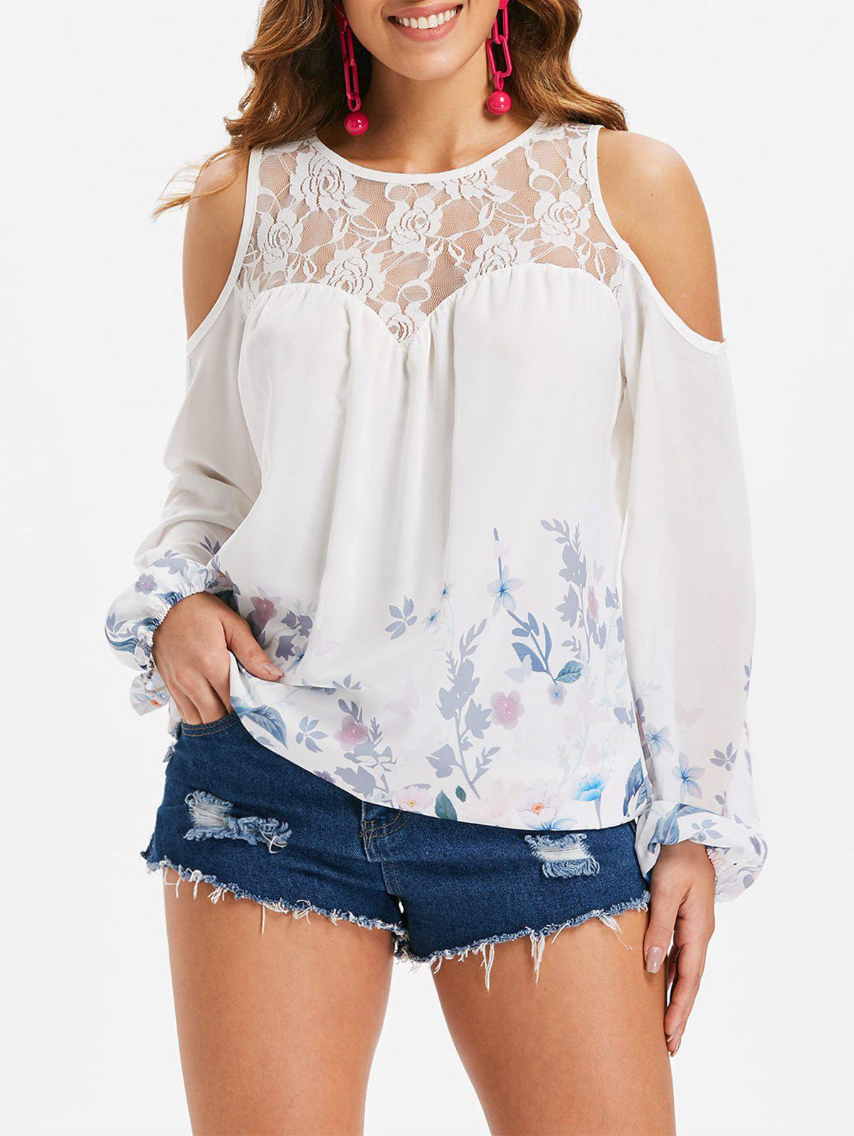 Outfits Floral Long Sleeve Cutout Shoulder Blouse