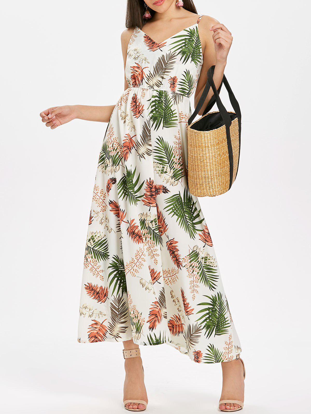 Sale Leaf Print Flowy Maxi Dress