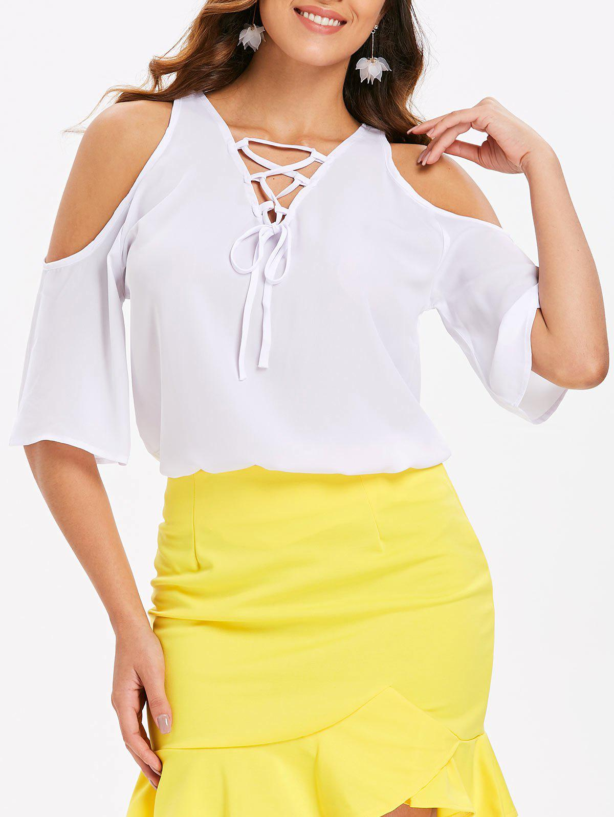 Fashion Cut Out Shoulder Lace Up Blouse