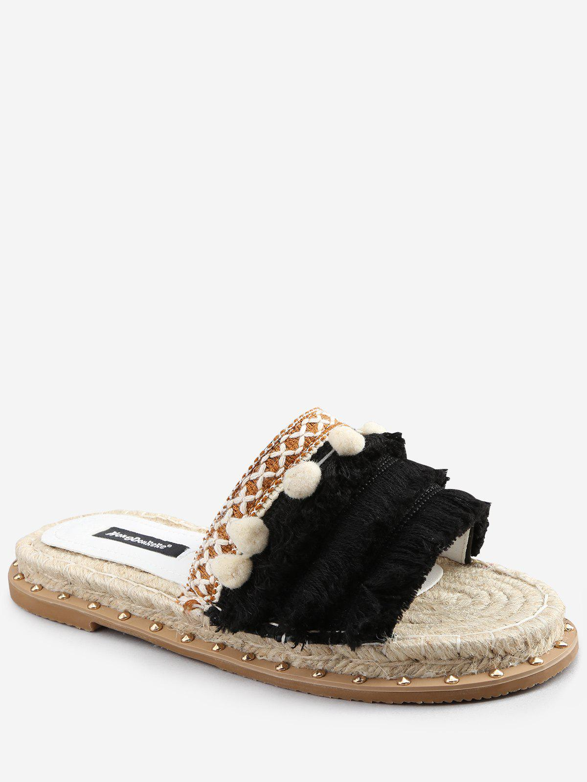 Outfits Studded Stitches Espadrille Pompom Fringes Slides