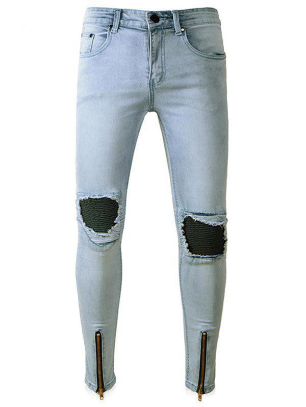Hot Zip Hem PU Leather Panel Ripped Biker Jeans