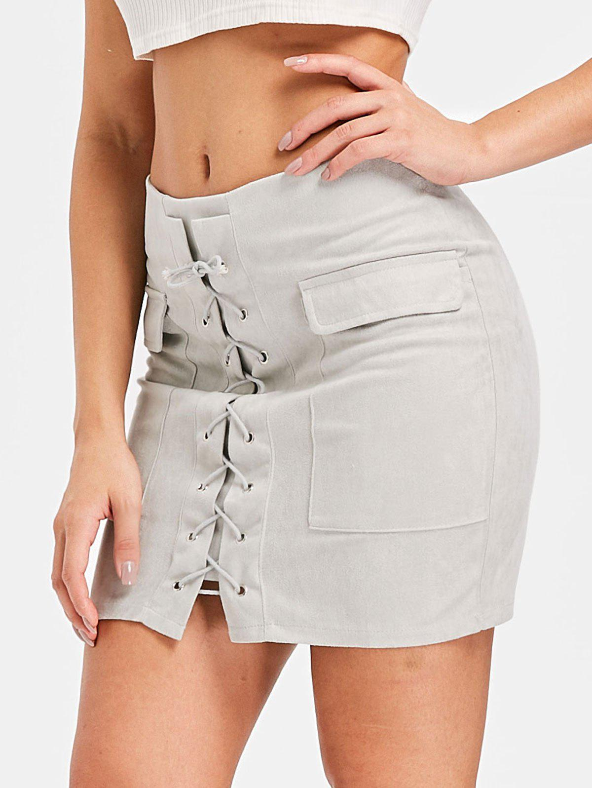 Online Mini Pocket Lace Up Skirt