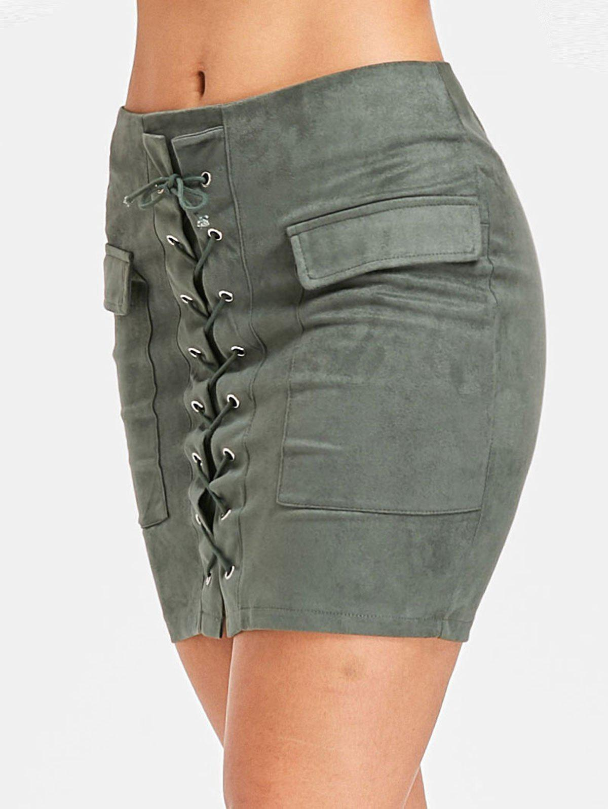 Discount Mini Pocket Lace Up Skirt