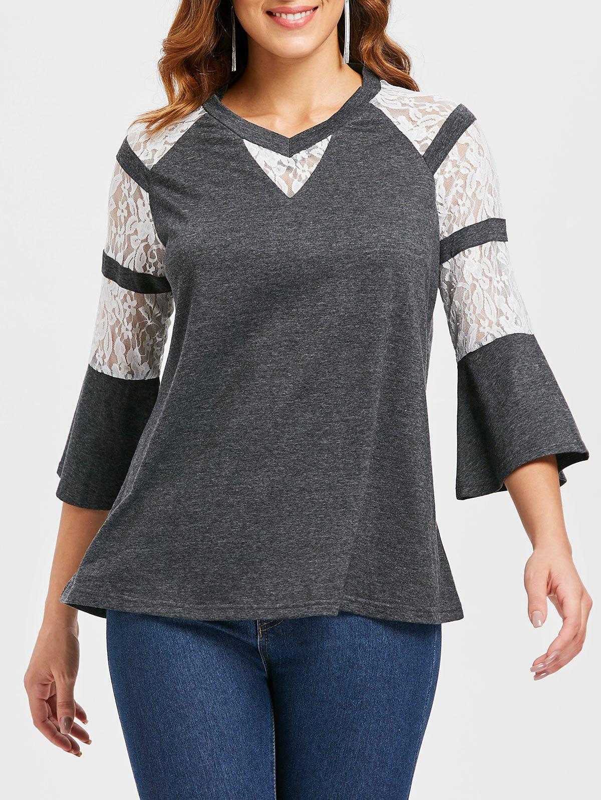 Latest Floral Lace Panel Flare Sleeve T-shirt