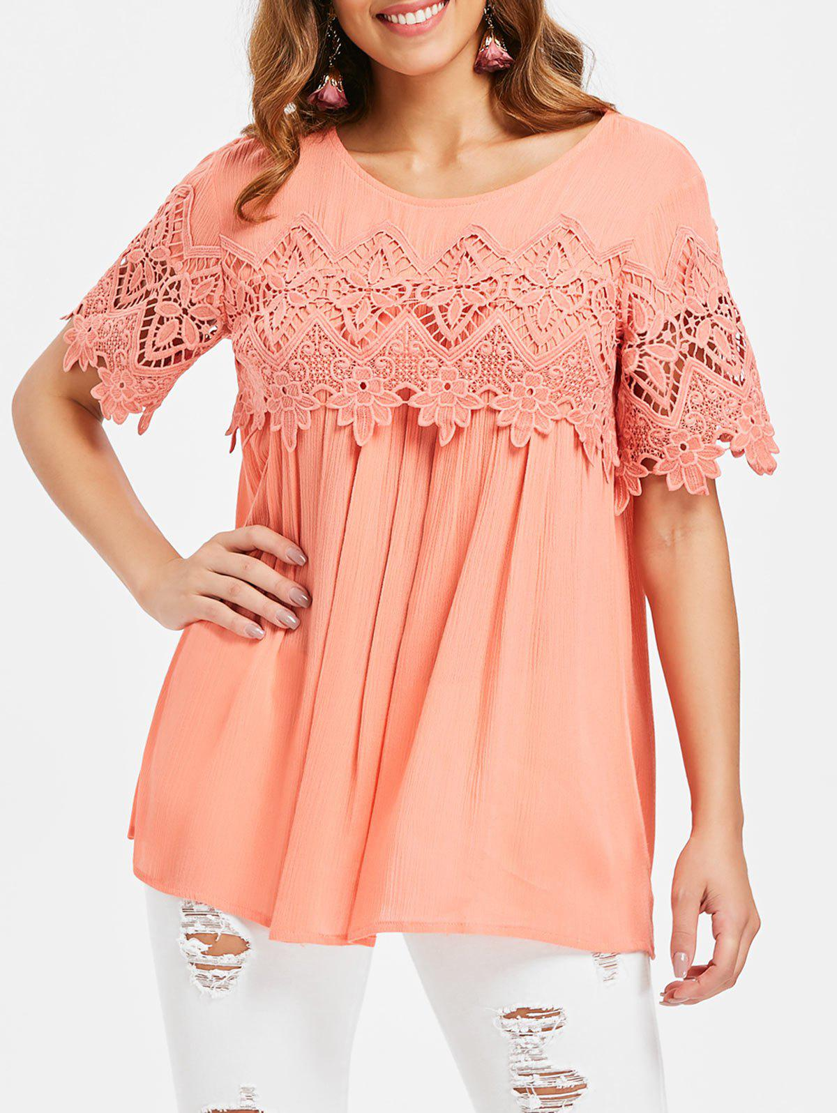 Hot Crochet Short Sleeve Blouse