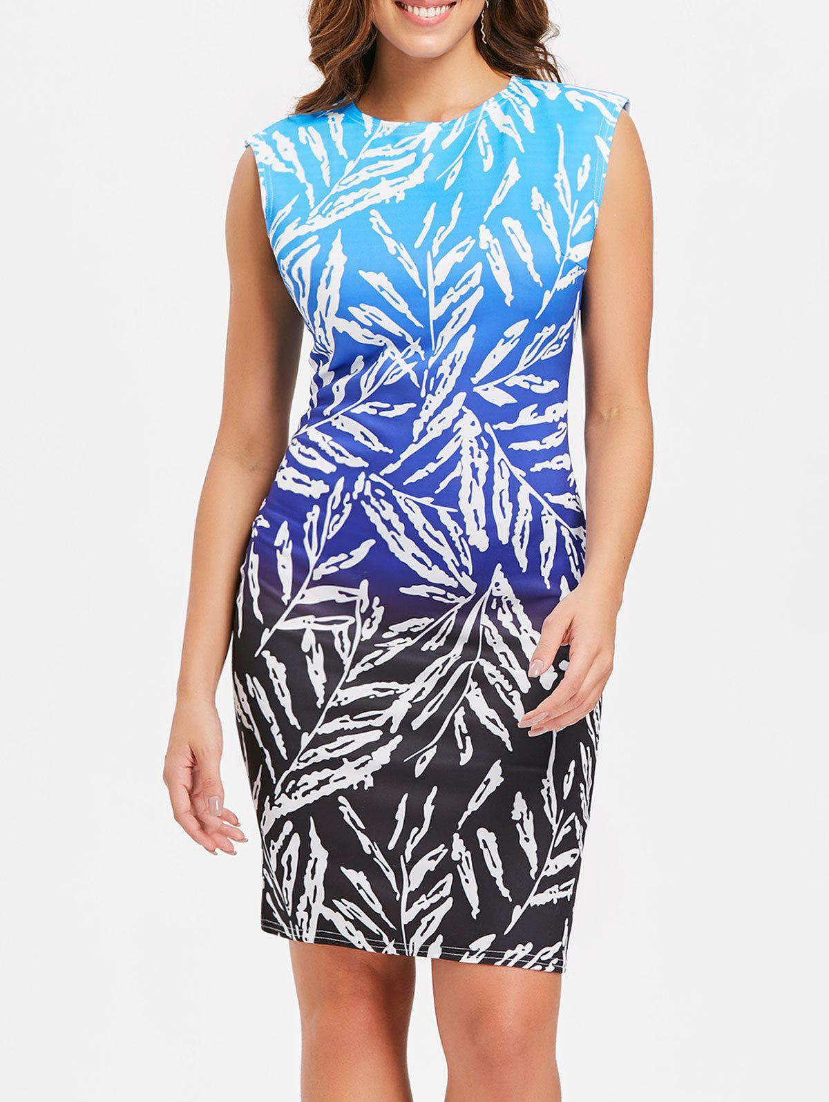 Discount Sleeveless Ombre Print Dress
